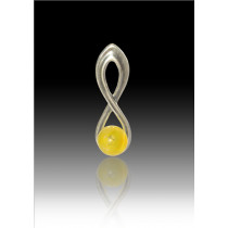 Infinity Glass Bead Pendant - Yellow - Sterling Silver