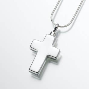 Large Cross Cremation Pendant in Sterling Silver