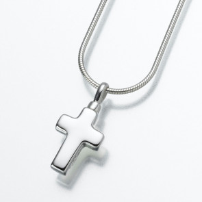 Small Cross Cremation Pendant in Sterling Silver