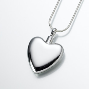 Large Modern Heart Cremation Pendant in Sterling Silver