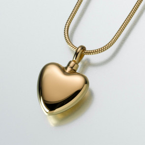 Small Modern Heart Cremation Pendant in Gold