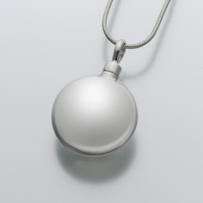 Large Round Cremation Pendant in Sterling Silver