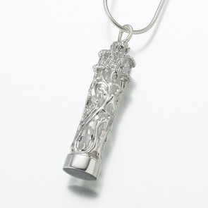 Silver Chromate Wrapped Cylinder Cremation Pendant