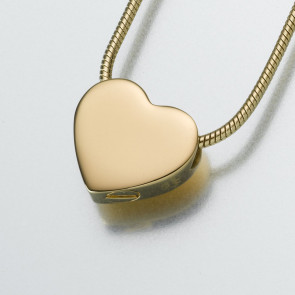 Slide Heart Cremation Pendant in Yellow Gold