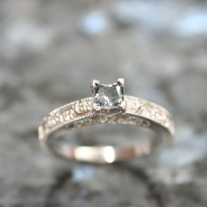 Ornate Cathedral Ring for Princess Cut