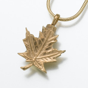 Maple Leaf Cremation Pendant in Gold