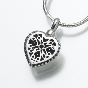Filigree Heart Cremation Pendant in Sterling Silver