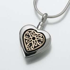 Heart with Filigree Insert Cremation Pendant