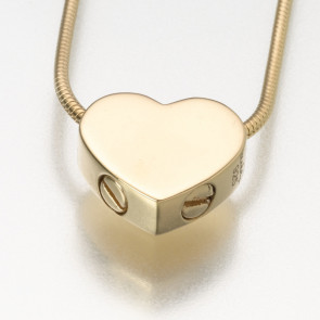 Double Chamber Slide Heart Cremation Pendant in Gold
