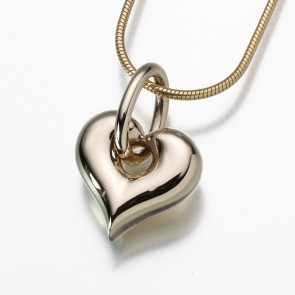 Puffed Heart with Loop Cremation Pendant in Gold