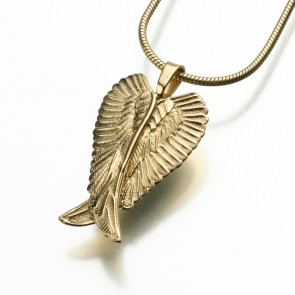 Wings of an Angel Cremation Pendant in 14k Gold