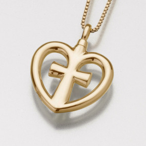 Love Cross Cremation Pendant in Gold