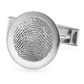 Fingerprint Charm Cuff Links with Polished Rim in Sterling Silver