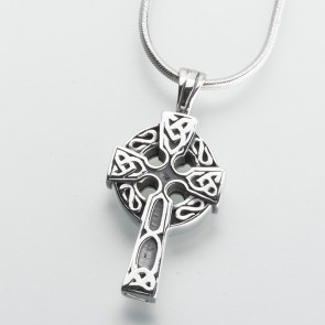 Celtic Cross Cremation Pendant in Sterling Silver