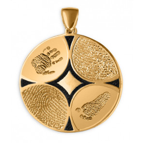 Family Ties Fingerprint Charm with 4 Prints in 14k Yellow Gold