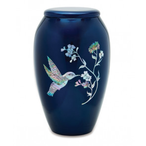 Blue Hummingbird Brass Cremation Urn for Ashes