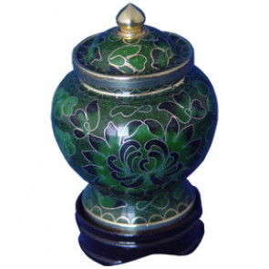 Forest Green Cloisonne Keepsake Miniature Urn