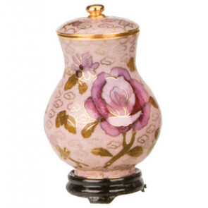 Dusty Rose Cloisonne Keepsake Miniature Urn