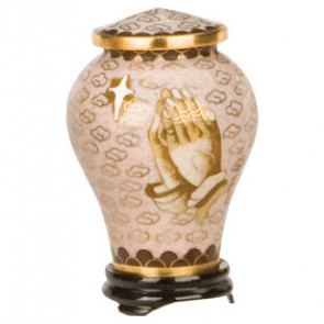 Praying Hands Cloisonne Miniature Urn