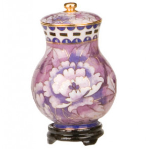 Purple Floral Cloisonne Keepsake Urn