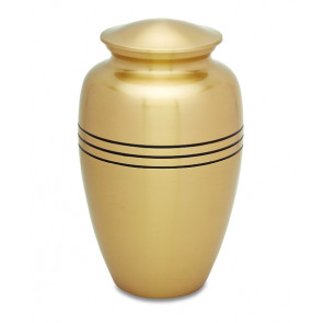 Golden Stripes Brass Cremation Urn for Ashes