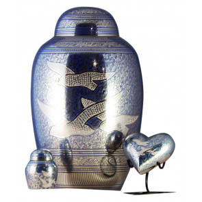 Blue Doves Brass Urn (3 Sizes)