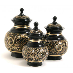 Elegant Black Engraved Brass Urn