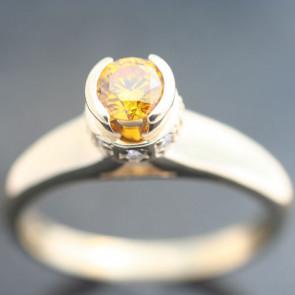 Round Cut Bezel Set with Accent Diamonds
