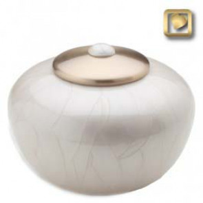 Round Simplicity Cremation Urn- Pearl