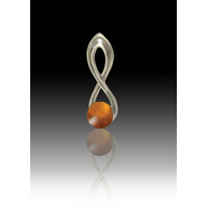 Infinity Glass Bead Pendant - Amber - Sterling Silver