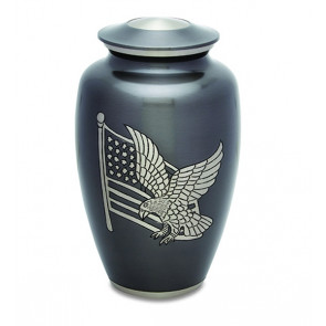 American Patriot Silver Cremation Urn for Ashes
