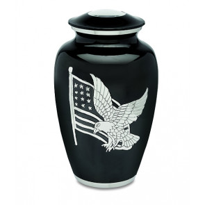 American Patriot Black and Silver Cremation Urn for Ashes
