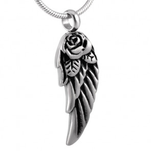 Angel Wing with Rose Cremation Pendant