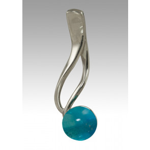 Tempo Glass Bead Cremation Pendant - Aquamarine - Sterling Silver