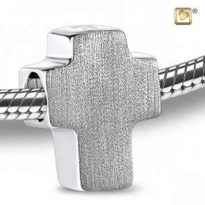 Silver Cross Two Tone Cremation Bead