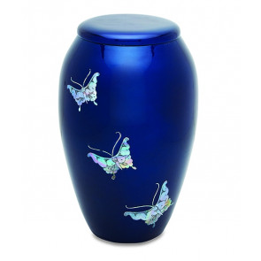 Deep Blue Butterfly Tranquility Urn for Cremation Ashes