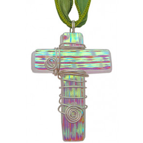Cross Dichroic Glass Pendant #01