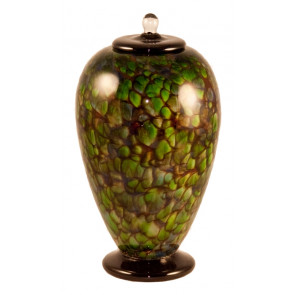Deco Forest Hand Blown Glass Cremation Urn