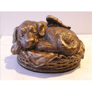 Sleeping Angel Dog Cremation Urn - Large - Bronze