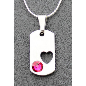 Pewter Dog Tag Cremation Pendant with Birthstone - Heart