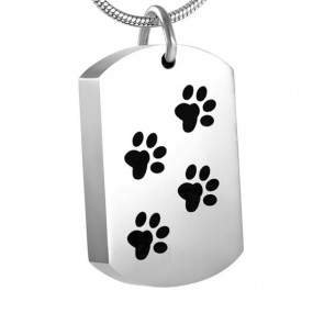 Dog Tag with Paw Prints Cremation Pendant