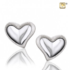 Silver Leaning Heart Two Tone Stud Earrings