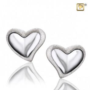 Silver Leaning Heart Two Tone Stud Earrings