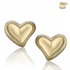 Gold Leaning Heart Two Tone Stud Earrings