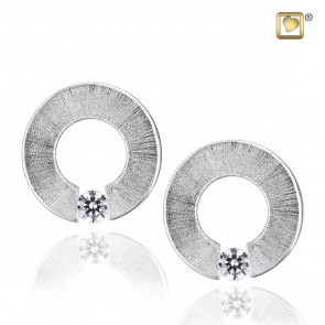 Silver Omega Two Tone Stud Earrings with Clear Crystal
