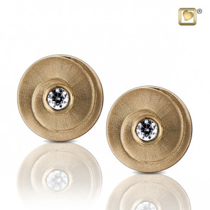 Gold Eternity Two Tone Stud Earrings with Clear Crystal
