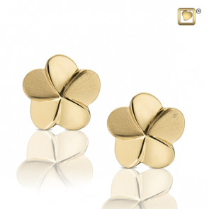 Gold Flower Bloom Two Tone Stud Earrings