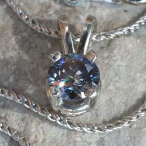 Four Prong Round Pendant