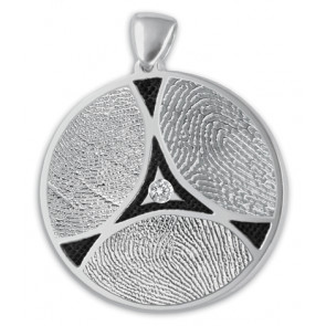 Family Ties Fingerprint Charm with 3 Prints and Center Set Stone -  Sterling Silver