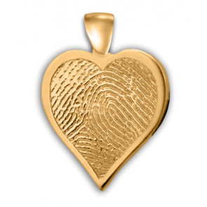 Single Heartfelt Fingerprint Charm in 14k Yellow Gold